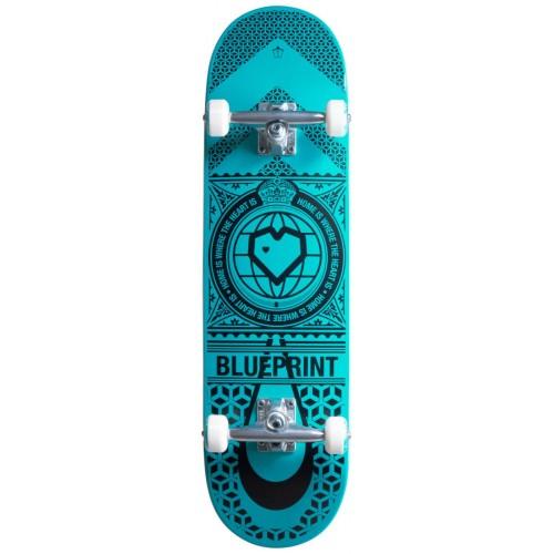"""Blueprint Home Heart Skateboard Complet 8.25"""" Noir/bleu/vert"""