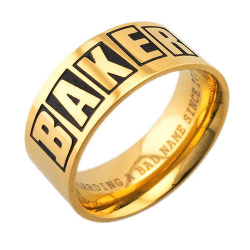BAKER BAGUE BRAND LOGO RING GOLD S